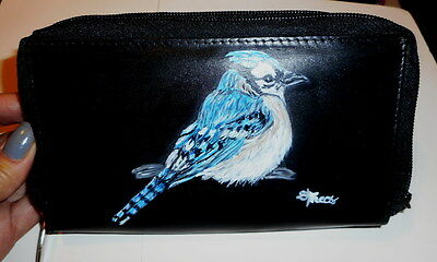 Blue Jay Bird Hand Painted Leather Leather wallet for Women
