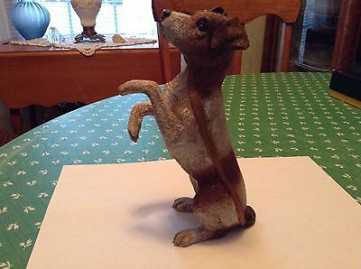 Jack Russell Resin Dog Figurine With Leash, 6 1/2 Inches