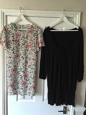 NEXT RED HERRING Maternity Tops Maxi Dress 14 16 Floral Butterfly Black Striped