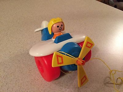 1980 Vintage Fisher Price Airplane Pull Toy WORKS
