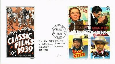 Dr Jim Stamps Us Classic Films First Day Cover Block Of Four Hollywood 1990