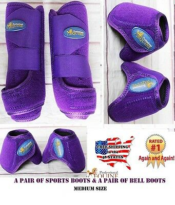 Horse Professional Equine Sports Medicine Splint Bell Boots Purple 41PRB