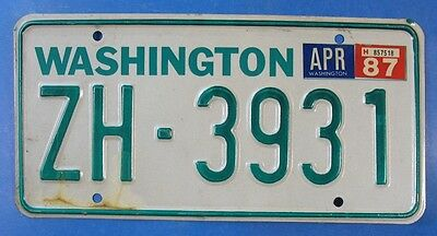 1987 Washington Trailer License Plate Zh-3931                             Ul3802
