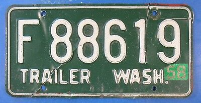 1958 Washington Trailer License Plate F88619                              Ul3761