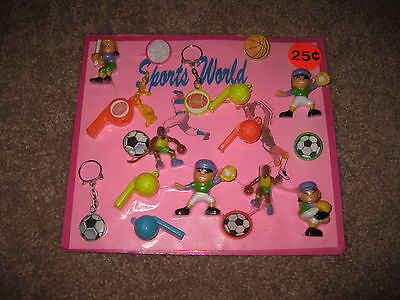 VINTAGE Retro Gumball Header SPORTS WORLD PINK Toy Charm Prize Display Card