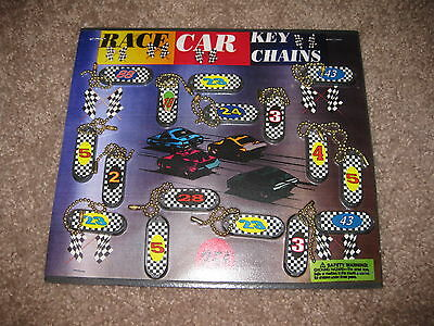 VINTAGE Retro Gumball Header NASCAR RACE KEY CHAINS Toy Charm Prize Display Card