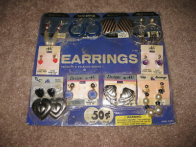 VINTAGE Retro Gumball Header ASSORTED EARRINGS Toy Charm Prize Display Card