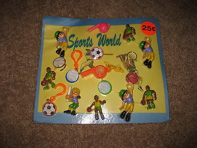 VINTAGE Retro Gumball Header SPORTS WORLD Toy Charm Prize Display Card