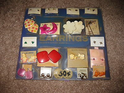 VINTAGE Retro Gumball Header EARRINGS ASST MIXTURE Toy Charm Prize Display Card