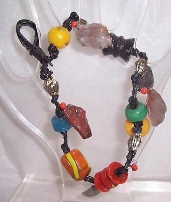 Vintage Leather Beaded Talisman or Worry Beads