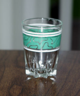 Vintage Shot Glass with Green Decoration