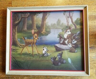 Vintage Disney Bambi Litho Print 13X11 Forest Secrets Told By Thumper To Bambi