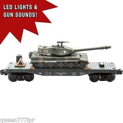 ** New - O Gauge Railroad Train Flatcar With Military Army Tank With Sounds **