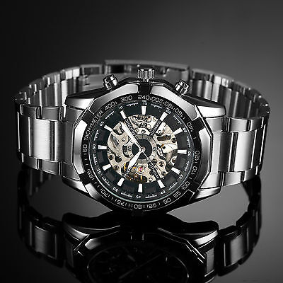 Silver Skeleton Stainless Steel Case Automatic Mechanical Mens Man Wrist Watch