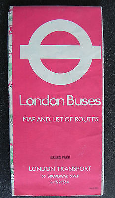 London Transport Buses Map & List of routes no2 1972