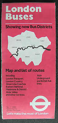 London Buses Map and list of Routes no1 1980