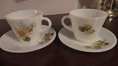 Vintage Pyrex JaJ Cups And Saucers Autumn Glory Gold x 2