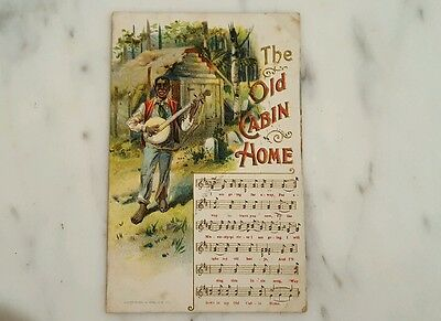 Antique Black Americana Postcard Posted 1909 Old Cabin Home