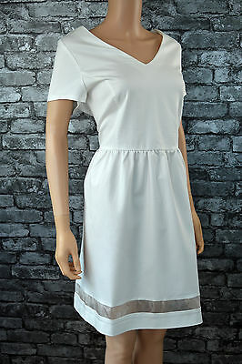 New Womens Elegant White Short Sleeved Shift Skater Dress UK Size 12