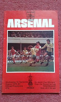 1979-80 Ecwc Cup Winners Cup Arsenal Fenerbahce Programme