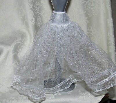 Barbie White Soft  Tulle Lace Underskirt Slip Accessory Fashion For Doll