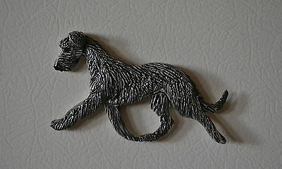 Scottish Deerhound.   Handsculpted ceramic magnet .OOAK . LOOK