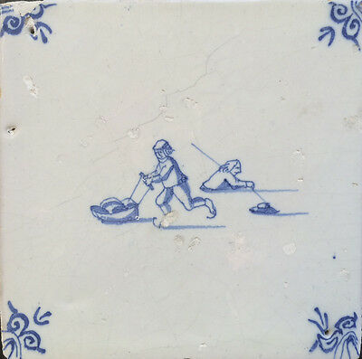 Antique Dutch Delft Tile Ice-Scene 17TH C.