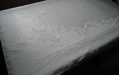 Vintage Irish Linen Dotted Damask Tablecloth Feathery Roses Flower Swags 82""