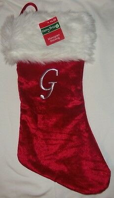 """Classic 18"""" Red Christmas Stocking Silver Thread Monogram of G by Merry Brite"""