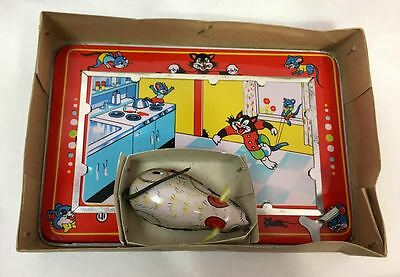 Lucky Toys Industry Mechanical Lucky Mouse Tin Retro Cat & Mouse Wind Up Toy Set