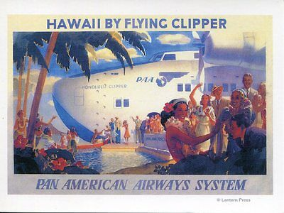Post Card Of An Old Travel Poster For Honolulu Hawaii Showing A Pan Am Clipper