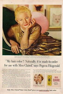 1955 Pegeen Fitzgerald Photo Miss Clairol Hair Color Vintage 50s Ad