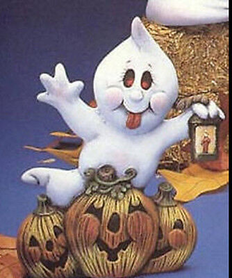 CERAMIC BISQUE GHOST COUPLE ON WELCOME PUMPKIN~UNPAINTED