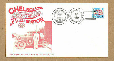 1989 Chelsea,Iowa IA 125th Year Celebration Postmark Envelope, Kupka Train