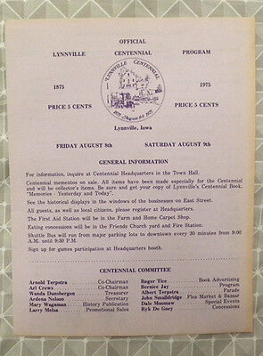 1875-1975 LYNNVILLE, Iowa IA Centennial Program, Parade, Map, Price 5 Cents