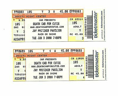 Death Cab For Cutie Unused Concert Tickets From 2008