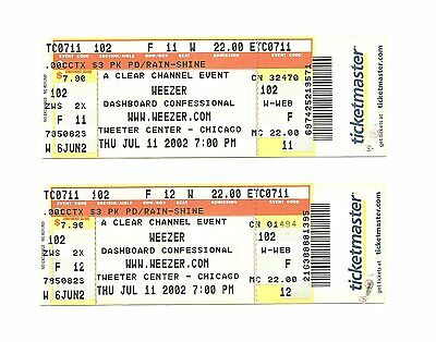 Weezer & Dashboard Confessional Unused Concert Tickets From 2002