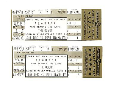 Alabama Unused Concert Tickets From 1991
