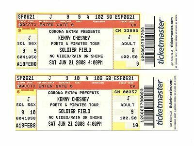 Kenny Chesney Unused Concert Tickets From 2008
