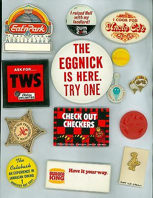 12 Vintage 1980s-90s Fast Food Restaurant Ad Pinback Buttons 1 Tab- Burger King