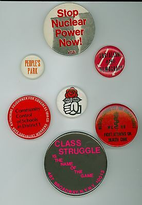 7 Vintage 1960s-80s Socialist Party Workers Political Campaign Pinback Buttons