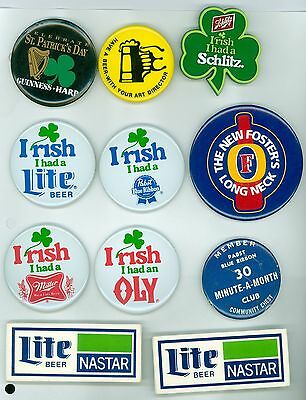 11 Vintage 1980s St. Patrick's Day Beer Advertising Pinback Buttons Guiness