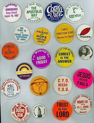21 Vintage 1960s-70s Assorted Religious Pinback Buttons - Christ Is The Answer