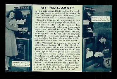 The Mailomat Early 1940s Postcard Pitney Bowes Coin Operated Mailbox