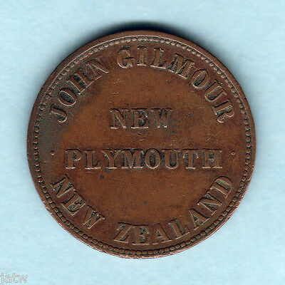 New Zealand - Token.  Gilmour 1d.. New Plymouth..  VF..  dotted border