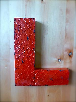 """INDUSTRIAL RED METAL WALL LETTER """"L"""" 20"""" TALL rustic vintage decor novelty sign"""