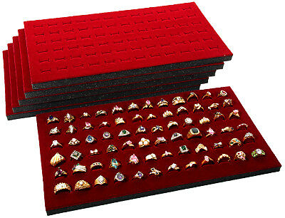 6 Burgundy Foam 72 Slot Ring Display Pads Also Used With Cases and Trays