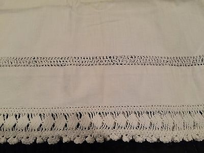 2 Vintage Antique PAIR Pillowcases Crocheted Edge