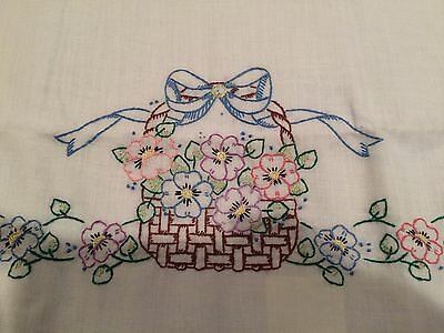 2 Vintage PAIR Pillowcases Embroidered Flower Basket
