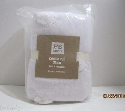 Pottery Barn Teen PBteen CRINKLE PUFF Quilted Pillow Sham STANDARD~ NIP~ WHITE